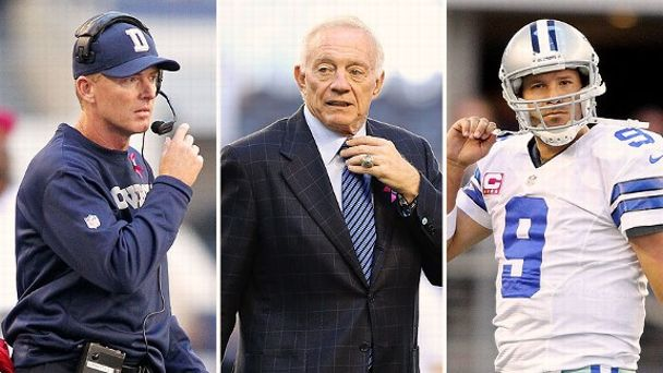 Jason Garrett, Jerry Jones, and Tony Romo