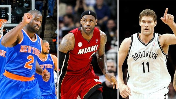 Raymond Felton, LeBron James and Brook Lopez
