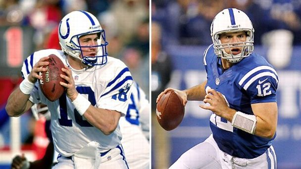 Peyton Manning of the Denver Broncos and Andrew Luck of the Indianapolis Colts