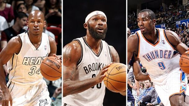 Ray Allen, Reggie Evans and Serge Ibaka