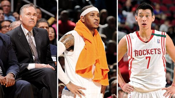 Mike D'Antoni, Carmelo Anthony and Jeremy Lin