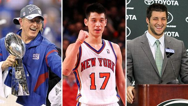 Tom Coughlin, Jeremy Lin, and Tim Tebow