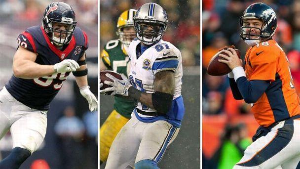 J.J. Watt, Calvin Johnson, Peyton Manning
