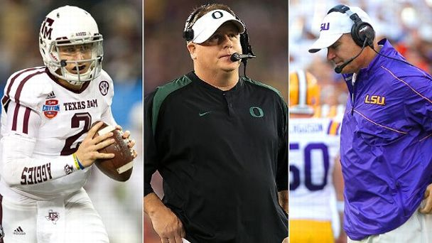 Johnny Manziel, Chip Kelly and Les Miles