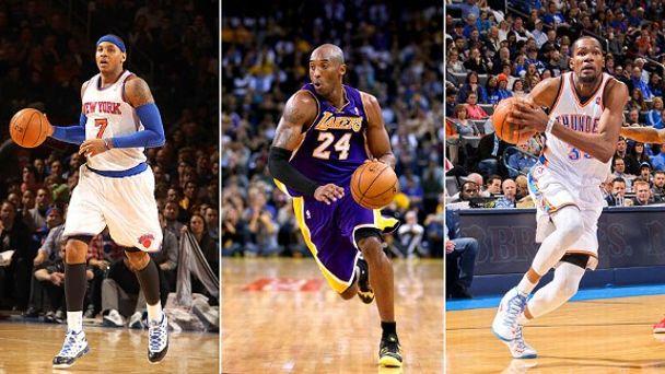Carmelo Anthony, Kobe Bryant, Kevin Durant
