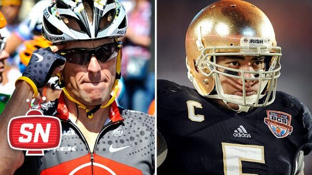 Manti Te'l and Lance Armstrong