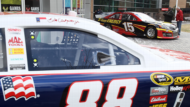Dale Earnhardt Jr.'s and Clint Bowyer's cars