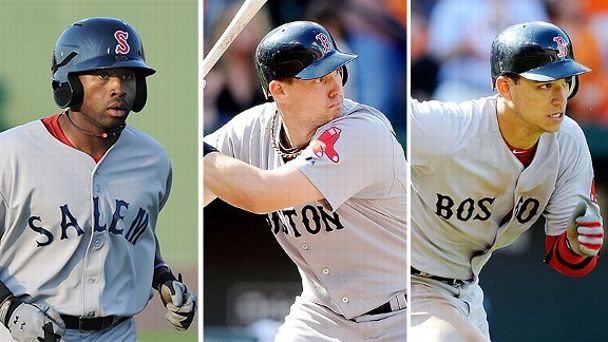 Ryan Lavarnway, Jose Iglesias and Jackie Bradley Jr.