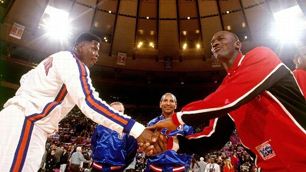 Patrick Ewing and Michael Jordan
