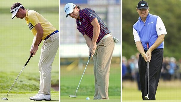 Keegan Bradley, Rory McIlroy, and Ernie Els