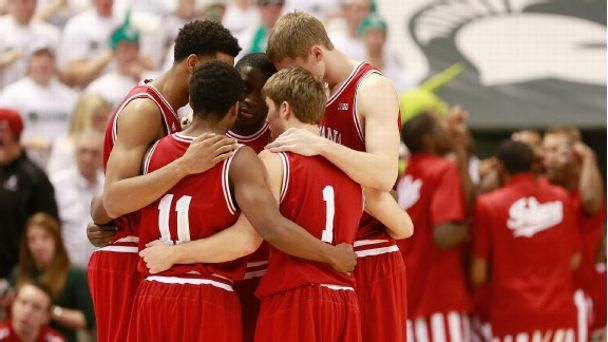 February 19: Jordan Hulls #1, Cody Zeller #40, Victor Oladipo #4, Christian Watford #2 and Kevin Ferrell #11 of the Indiana Hoosiers prepare to take the court against the Michigan State Spartans at the Jack T. Breslin Student Events Center on February 19,