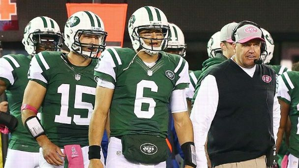 Tim Tebow, Mark Sanchez and Rex Ryan