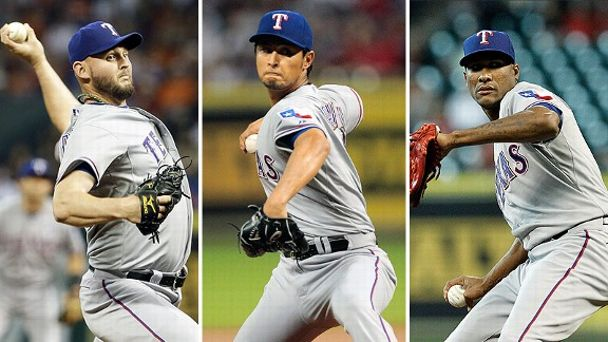 Matt Harrison, Yu Darvish, and Alexi Ogando