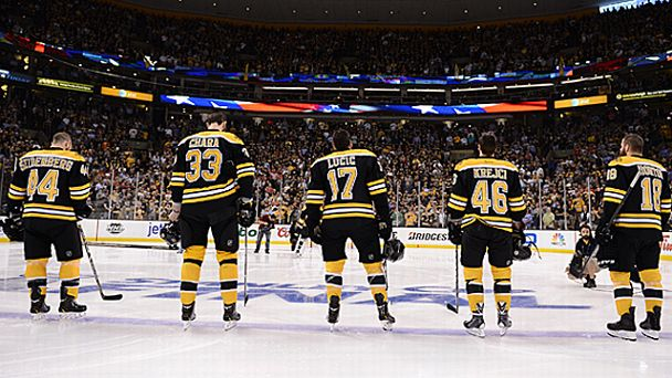 Dennis Seidenberg #44, Zdeno Chara #33, Milan Lucic #17, David Krecji #46 and Nathan Horton #18 of the Boston Bruins