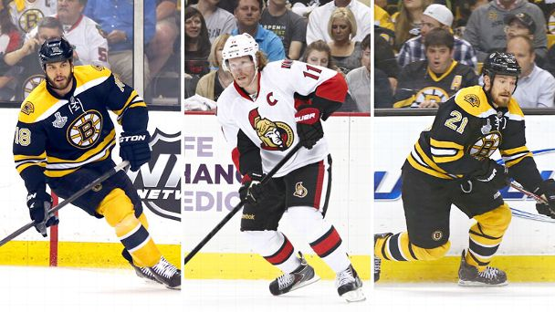 Nathan Horton, Daniel Alfredsson and Andrew Ference