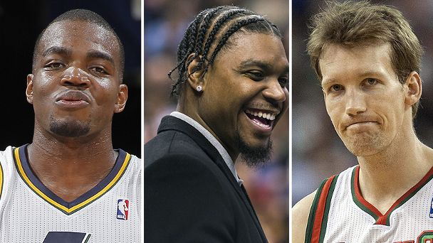 Paul Millsap, Andrew Bynum, and Mike Dunleavy