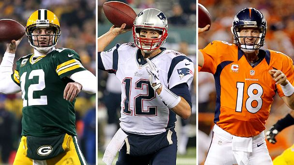 Aaron Rodgers, Tom Brady and Peyton Manning