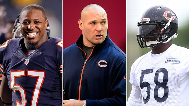 jon Bostic, Brian Urlacher & D.J. Williams
