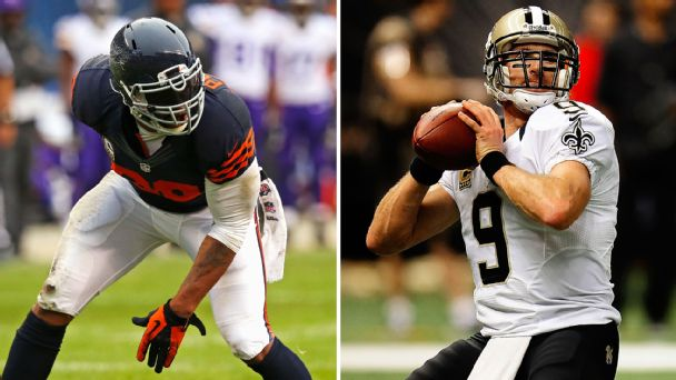Julius Peppers, Drew Brees