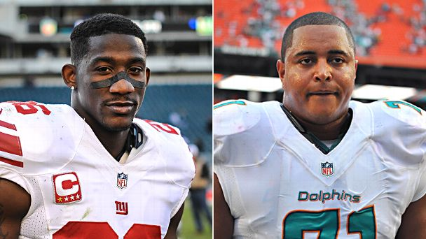 Antrel Rolle and Jonathan Martin