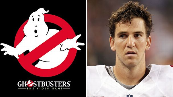 Ghost Buster logo and Eli Manning