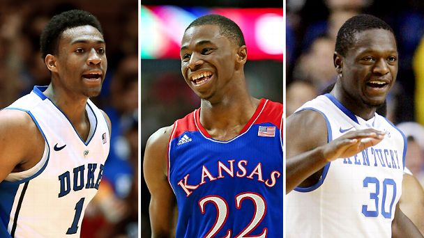 Jabari Parker, Andrew Wiggins and Julius Randle