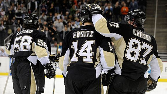 Sidney Crosby #87 of the Pittsburgh Penguins and Chris Kunitz #14 of the Pittsburgh Penguins