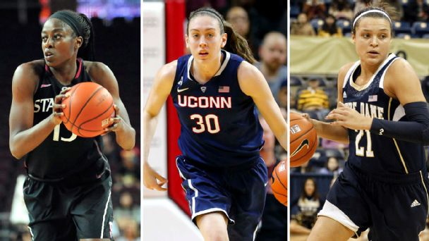 Chiney Ogwumike, Breanna Stewart and Kayla McBride