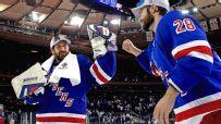 New York Rangers Henrik Lundqvist and Dominic Moore