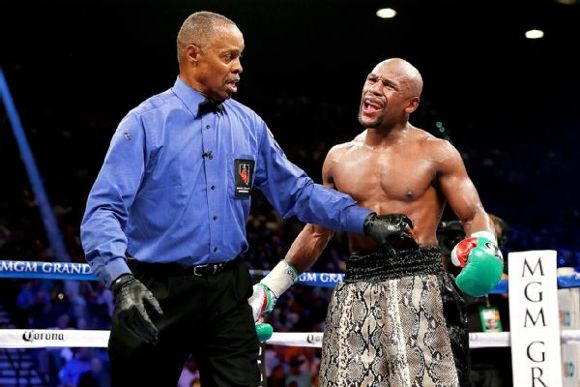 Kenny Bayless and Floyd Mayweather Jr.