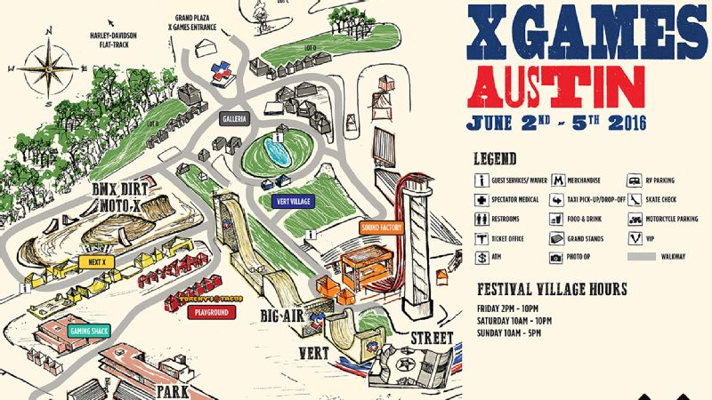 X Games Austin Venue Map - Check off map