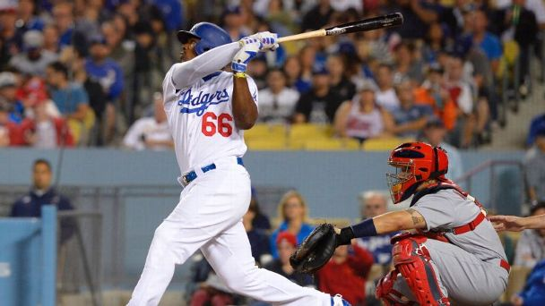 Yasiel Puig and Yadier Molina