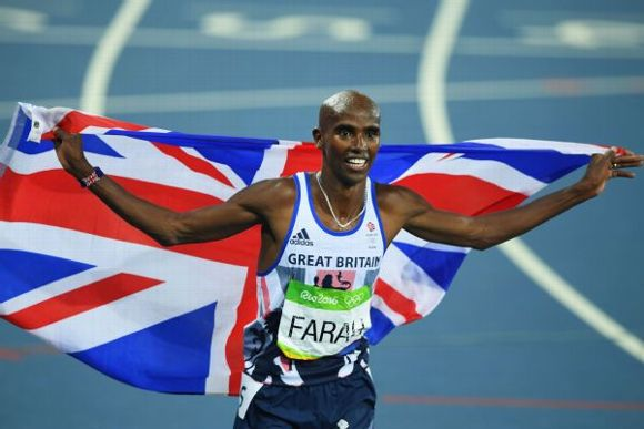 Mohamed Farah of Great Britain reacts after winning gold in the Men's 5000 meter Final on Day 15 of the Rio 2016 Olympic Games