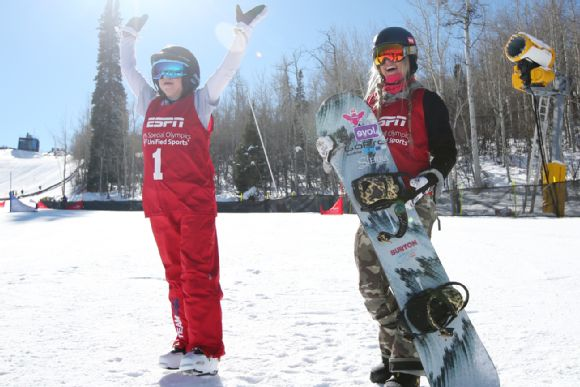 Hannah Teter and Daina Shilts at Special Olympics Unified Snowboarding