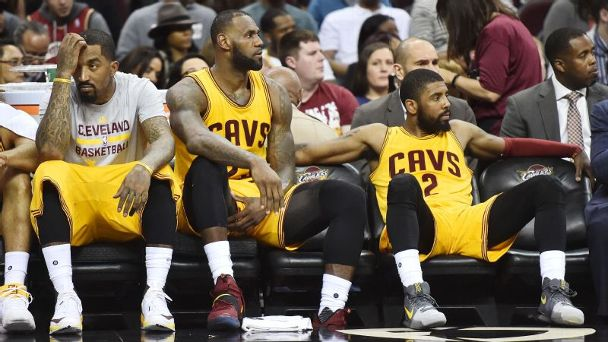 J.R. Smith, LeBron James and Kyrie Irving