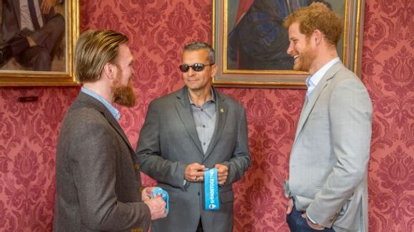 Former British soldier Karl Hinett, Ivan Castro and Prince Harry