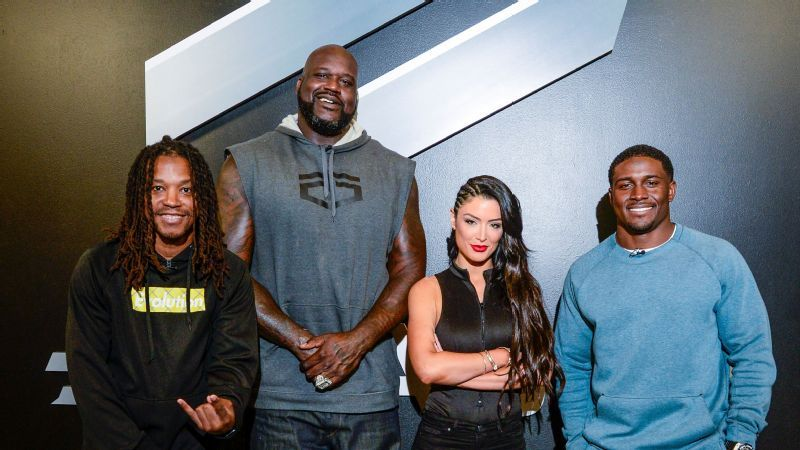 From left to right: Lupe Fiasco, Shaquille O'Neal, Eva Marie, and Reggie Bush will compete in the ELeague celebrity Street Fighter V tournament.