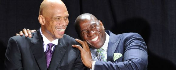 Magic Johnson with Kareem Abdul-Jabbar