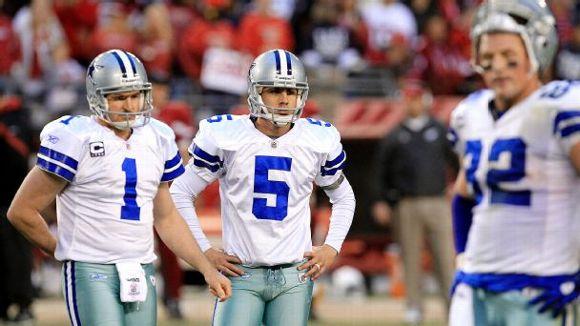 Dallas Cowboys' Mat McBriar (1), kicker Dan Bailey (5), and tight end Jason Witten (82)