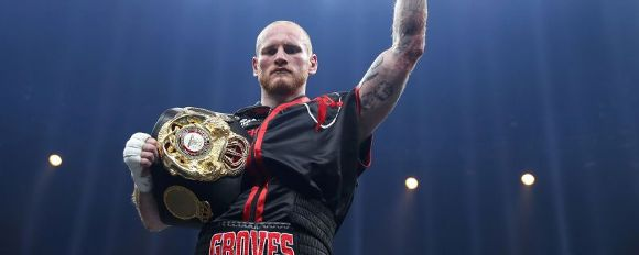 George Groves celebrates knocking out Jamie Cox durng thier WBSS Super Middleweight Quarter-Final