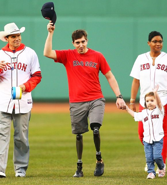 Jeff Bauman is honored during the Red Sox game.