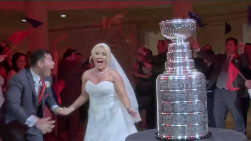 The Stanley Cup crashes a wedding at Disney World