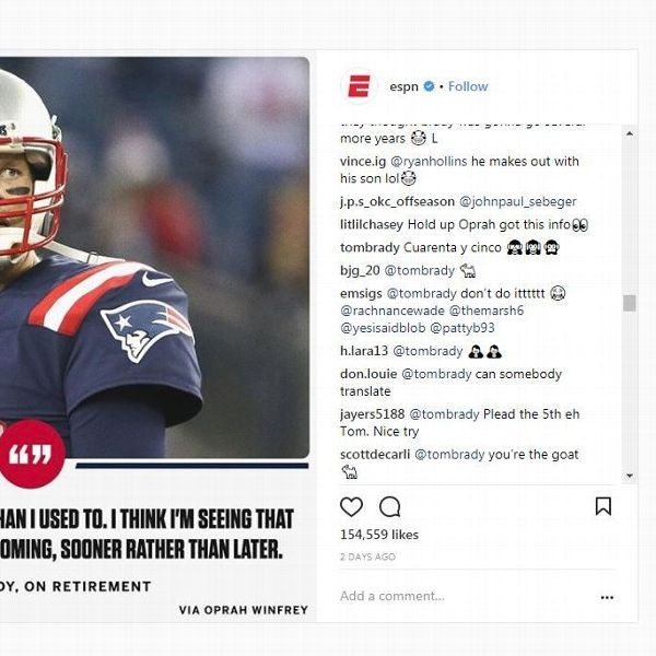 Tom Brady replies to Instagram post about his retirement with emojis, 'Cuarenta y cinco'