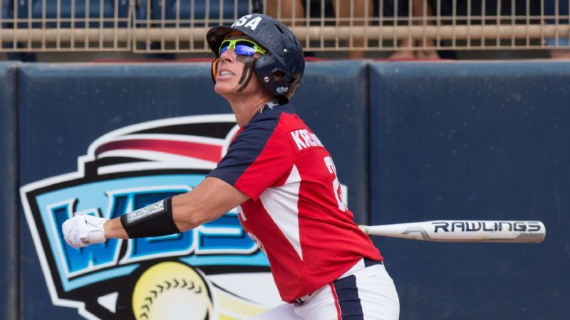 USA Softball star Kelly Kretschman works for another spot at Olympic