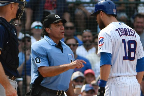 Ben Zobrist ejected after telling ump players want electronic strike zone