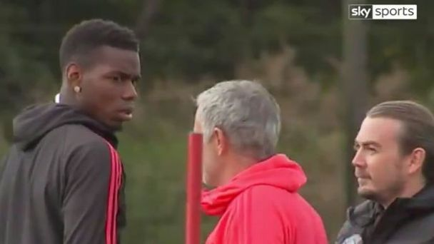 Jose Mourinho, Paul Pogba filmed in frosty exchange at Manchester United training