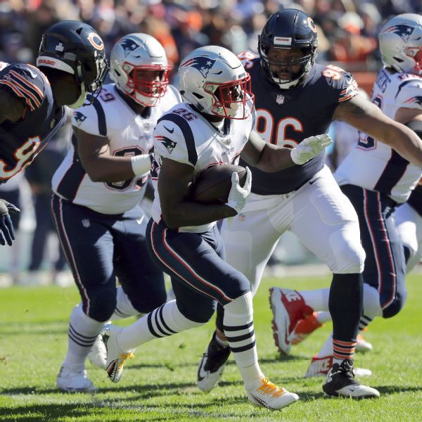 Patriots' Sony Michel out vs. Bears after hit