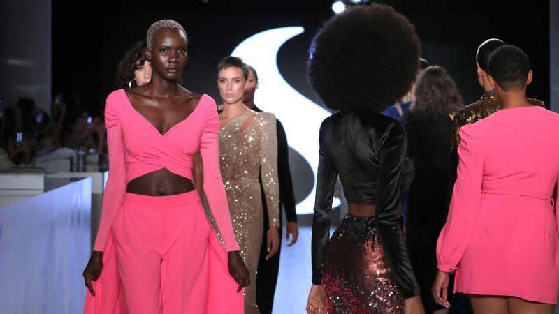 Models take a turn on the catwalk during the S by Serena runway presentation.