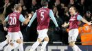 West Ham celebrate Mark Noble's strike