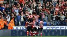 Sunderland celebrate their dramatic late victory over Bolton
